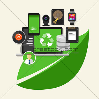 green recycle computer  technology computing