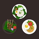 indonesian malaysian food nasi goreng lemak sate