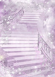Purple gentle colourful illustration of a ladder - astral and flower theme. Vector background