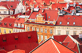 Roofs of old houses on Old Town Square, Prague