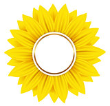 Round banner with yellow sunflower