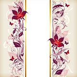 Vertical banner with violet and pink flowers
