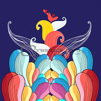 abstract background in love with a bird