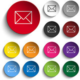 Mail Envelope Icon Circle Color Set