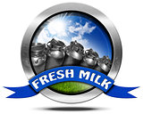 Fresh Milk - Metal Icon with Cans