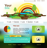 Website design with rainbow and trees