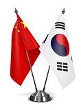China and South Corea - Miniature Flags.
