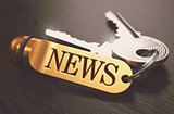 News Concept. Keys with Golden Keyring.