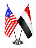 USA and Yemen - Miniature Flags.