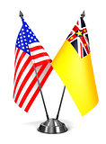 USA and Niue - Miniature Flags.