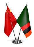China and Zambia - Miniature Flags.