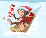 Christmas monkey riding on a sled and keeps petard 2016