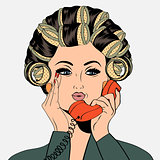 Woman with curlers in their hair talking at phone, isolated on w
