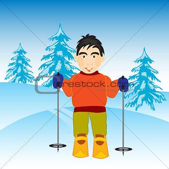 Skier in wood