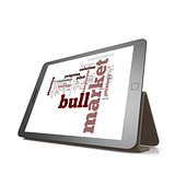Bull market word cloud on tablet