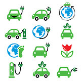 Electric car, green or eco transport icons set