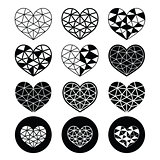 Geometric heart for Valentine's Day icons - love, relationship concept