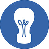 Vector illustration of a light bulb icon.
