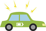 Vector illustration of a car with battery icon.