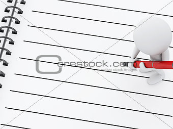 3d white people with notepad and pen.