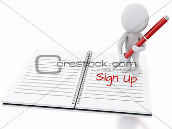 3d white people writing sign up on notebook page.