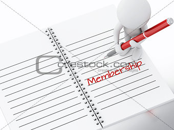 3d white people writing membership on notebook page.