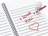 3d white people writing i love you on notebook page.