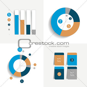 Flat set of charts and brochure elements. Simply color editable. Infographics elements.