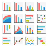 Set of flat minimalistic charts, graph, diagrams. Infographics vector.
