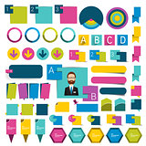 Big set infographics flat design buttons,elements, schems, charts, buttons. Vector illustration.