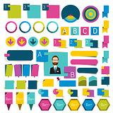 Big set infographics flat design buttons,elements, schems, charts, buttons. Vector illustration.