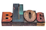 blog word in mixed wood type