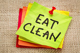 eat clean reminder on sticky note