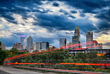 Downtown of Charlotte  North Carolina skyline with dramatic sky