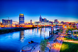 Nashville Tennessee downtown skyline at Shelby Street Bridge