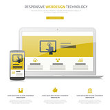 Responsive webdesign laptop and smartphone mock up