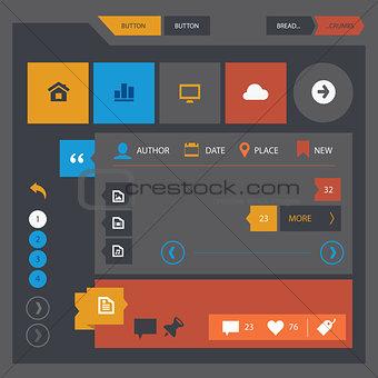Flat design UI UX kit