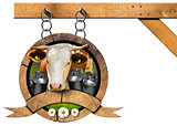 Dairy Products - Wooden Sign with Chain