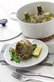 carciofi alla Romana, Roman style boiled artichokes