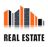 real estate symbol with city landscape