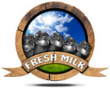 Fresh Milk - Wooden Icon with Cans