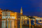 St. Marks Campanile and Grand canal, night, Venice