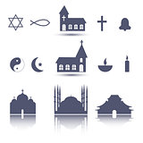 Religion icons set