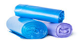 Multicolored rolls of plastic garbage bags