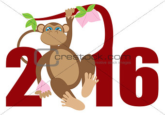 2016 Year of the Monkey on Tree Numerals Illustration