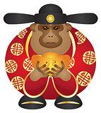 Chinese Money God Monkey with Gold Bars Color Illustration