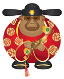 Chinese Money God Monkey with Ruyi Scepter Color Illustration