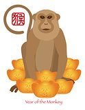 2016 Chinese Year of the Monkey with Gold Bars Color Illustratio