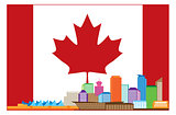 Vancouver BC Canada Colorful Skyline in Canadian Flag Illustrati
