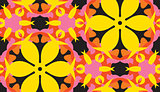 Yellow Floral Shapes Over Black